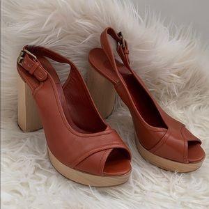 Chloe Wood Platform Heel